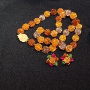VINTAGE 1950's Fruit Salad Necklace & Earrings Set